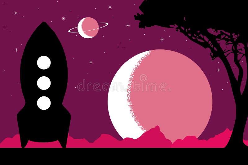 Пурпуровая планета иллюстрация штока