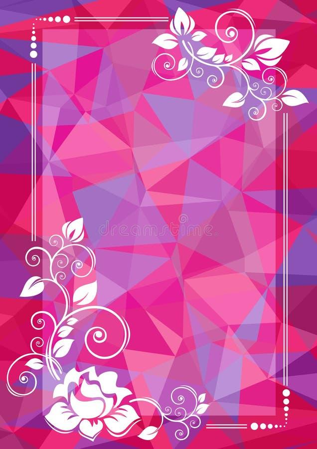 Пурпуровая флористическая граница иллюстрация вектора