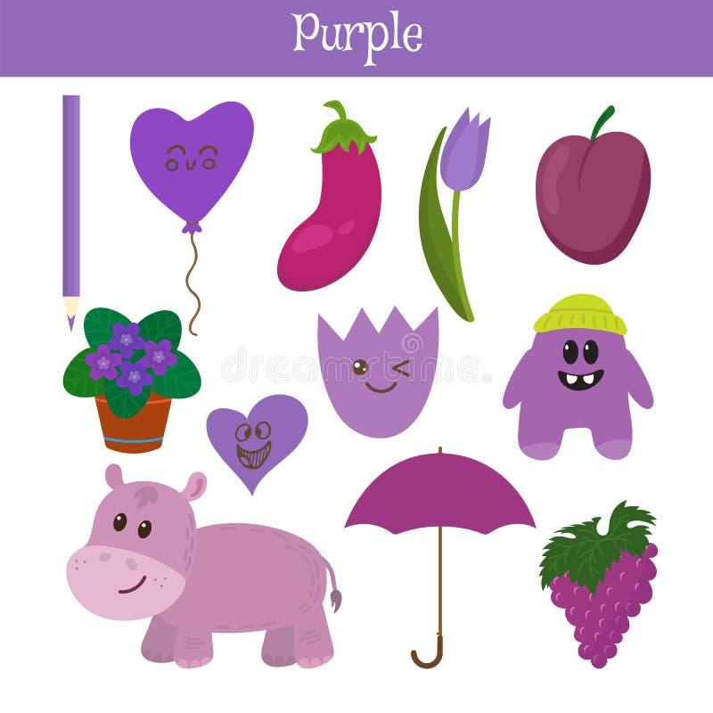 пурпурово Выучите цвет Комплект образования Иллюстрация основного иллюстрация вектора