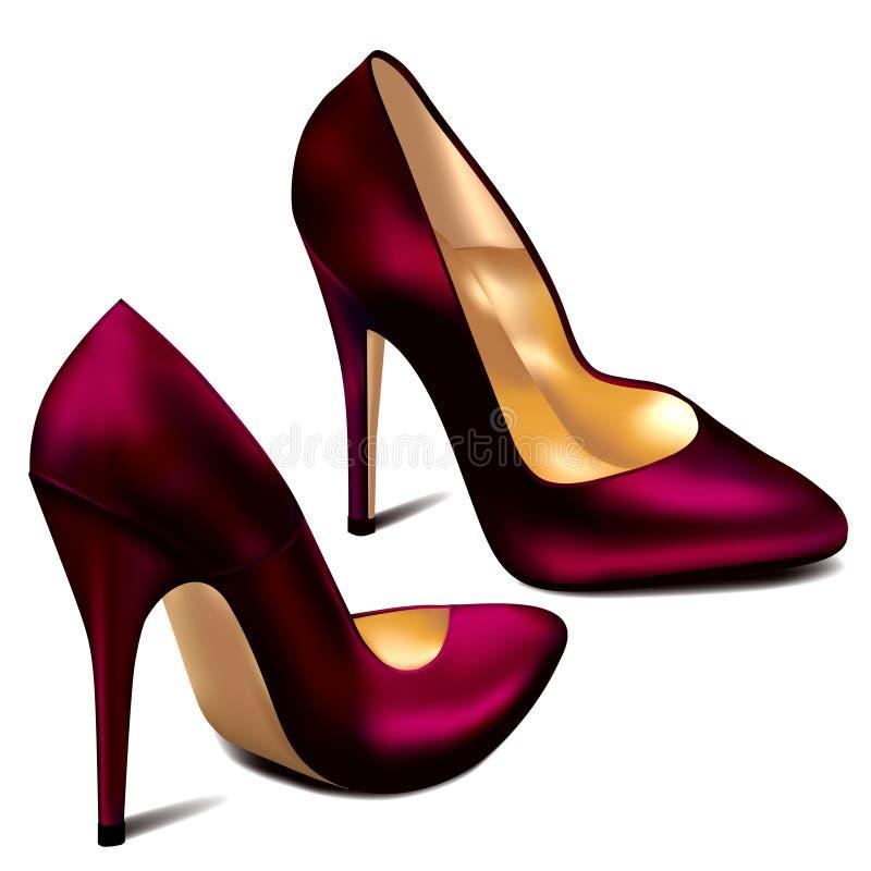 Пурпуровые высокие пятки иллюстрация вектора