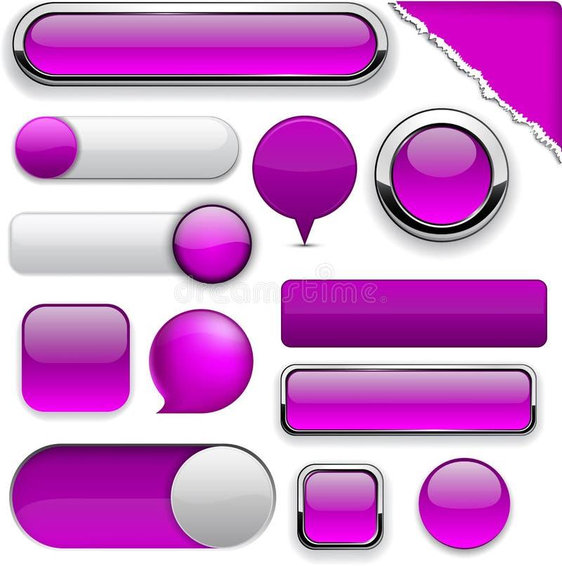 Пурпуровые высок-детальные самомоднейшие кнопки. иллюстрация вектора