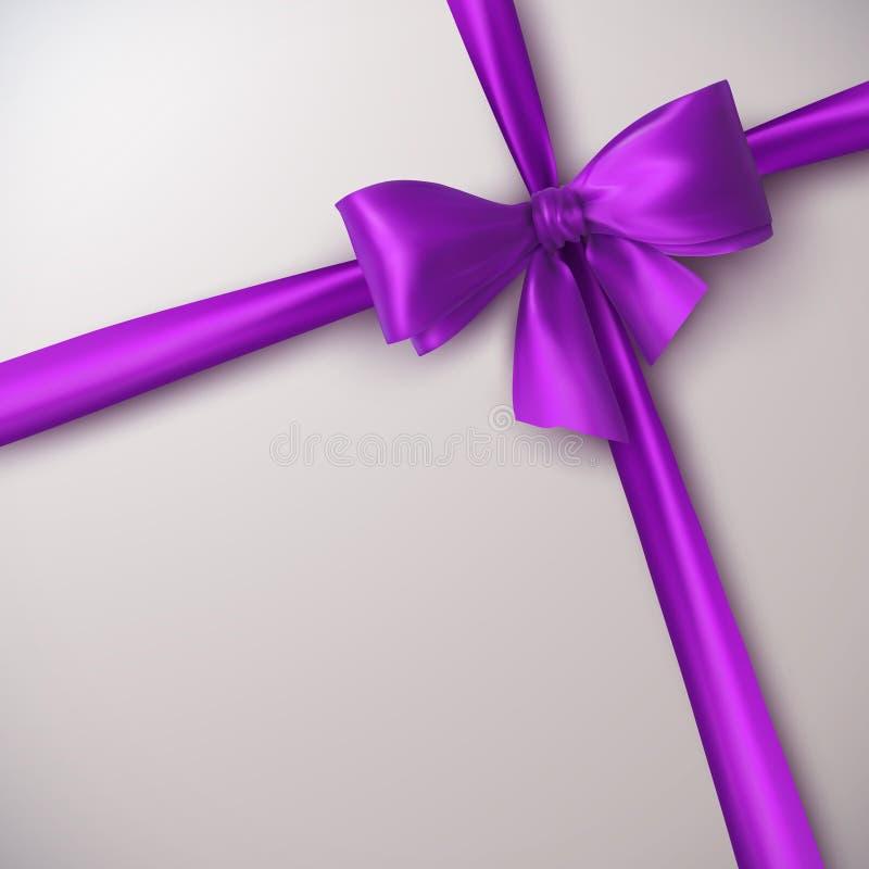Пурпуровые смычок и тесемка иллюстрация вектора