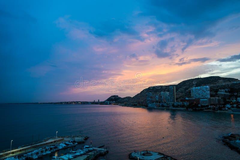 Пурпур гавани Аликанте стоковое фото