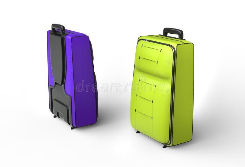 Пурпур и зеленый цвет путешествуют случаи багажа на белой предпосылке стоковые фотографии rf