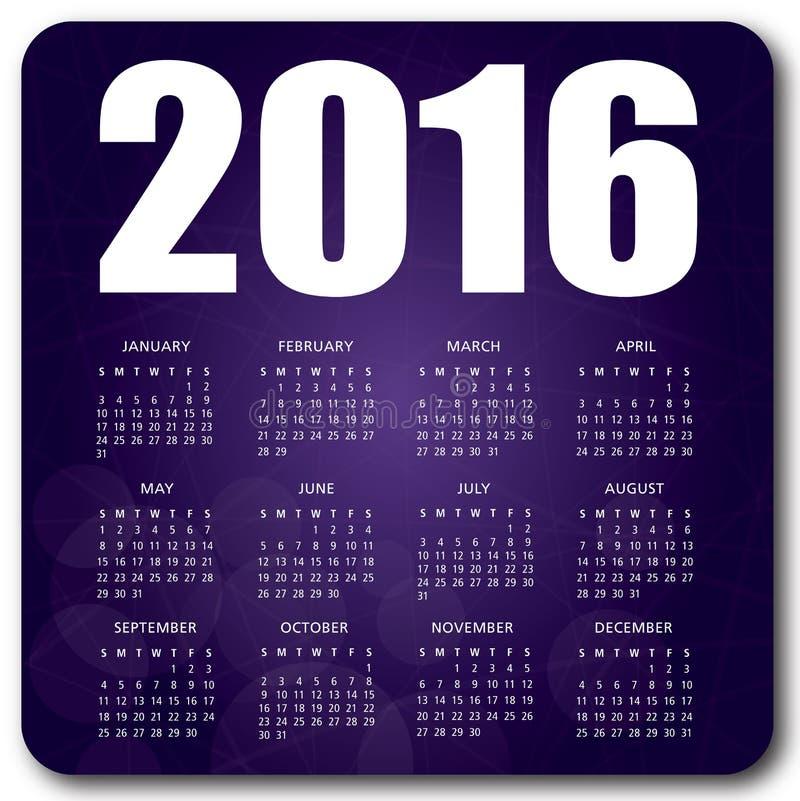 Пурпур календаря 2016 английских языков иллюстрация вектора