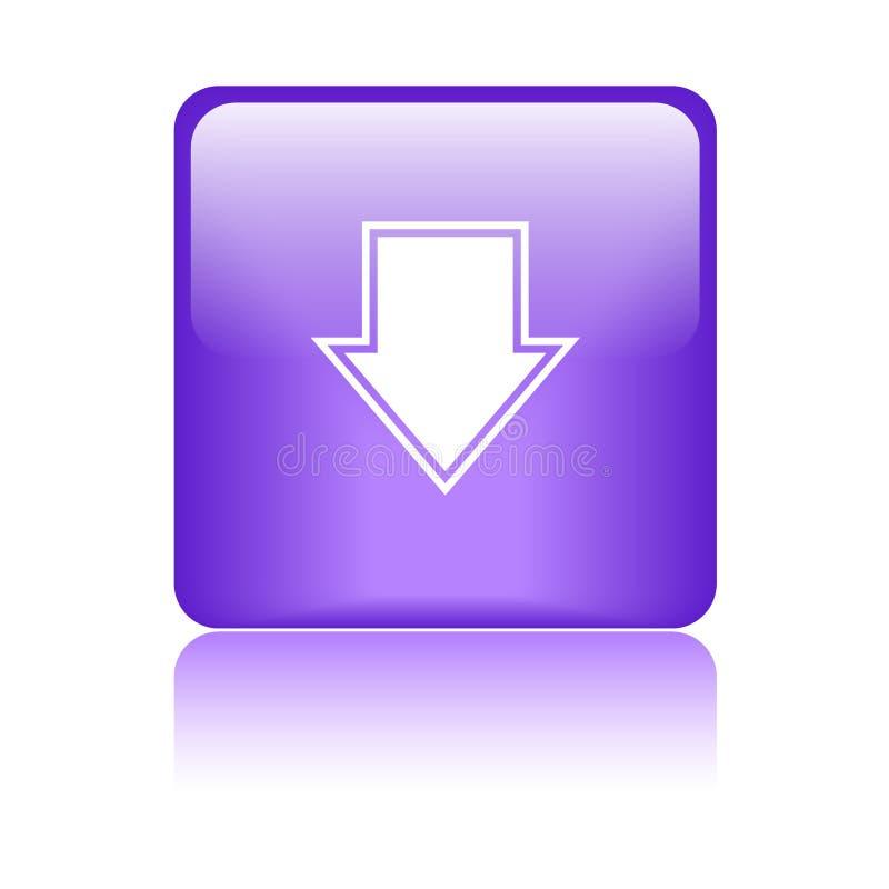 Пурпур квадрата кнопки загрузки иллюстрация вектора