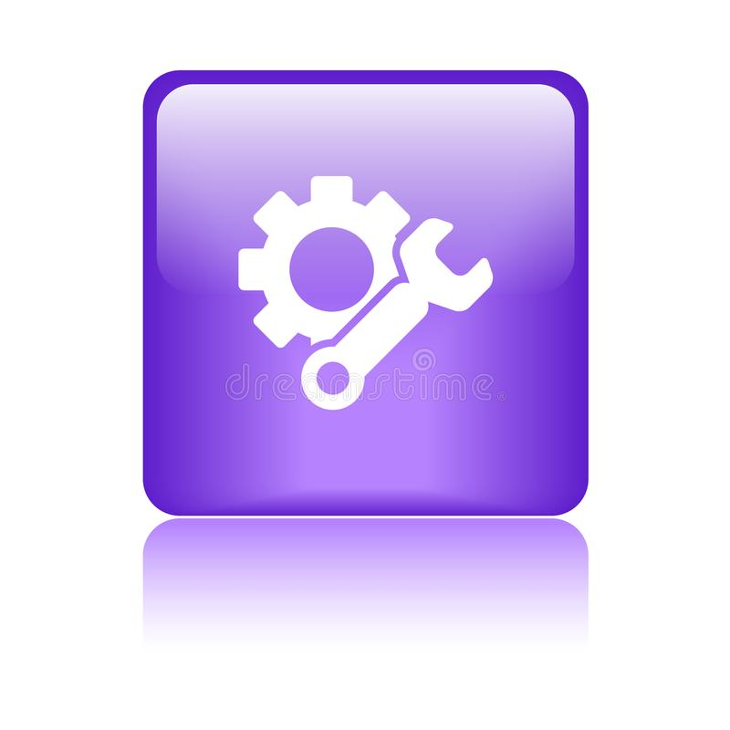 Пурпур кнопки сети значка установок иллюстрация штока