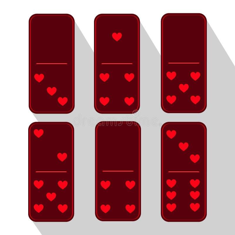 Пурпур домино Одно и 4 Сердце 6 частей иллюстрация штока