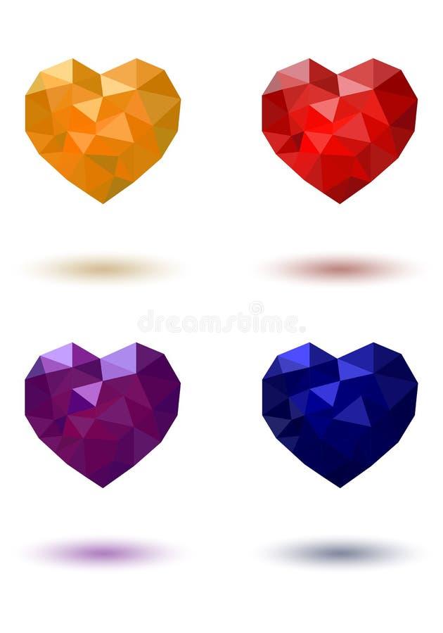 Пурпур полигонального сердца красный желтый голубой стоковое изображение