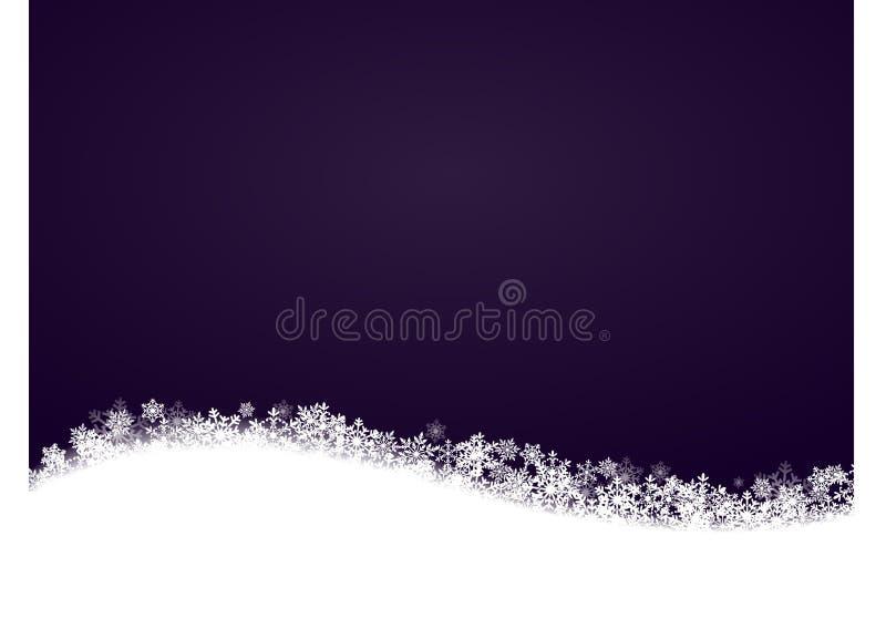 Пурпур предпосылки зимы темный, снежинки понизился волна, место для текста иллюстрация штока