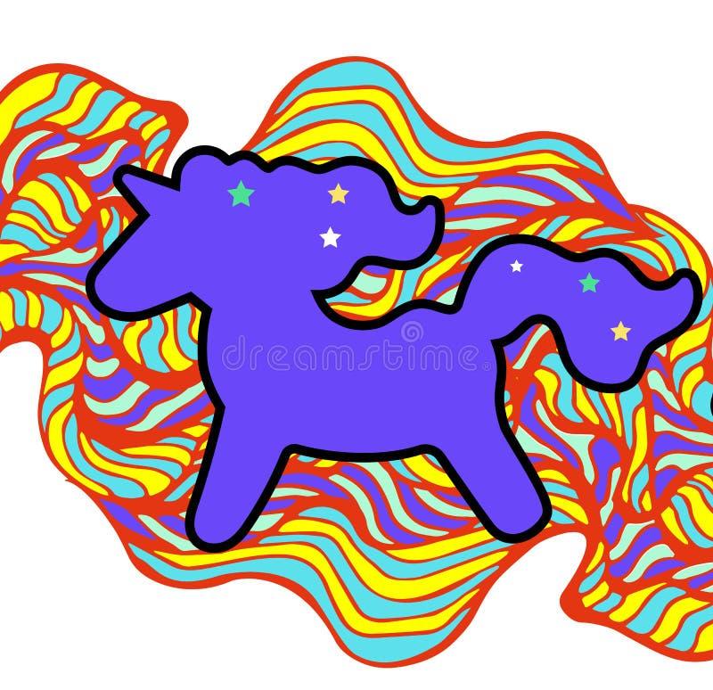 Пурпур с гривой и рожком Стикер единорога на предпосылке радуги Стикер единорога, значок заплаты бесплатная иллюстрация