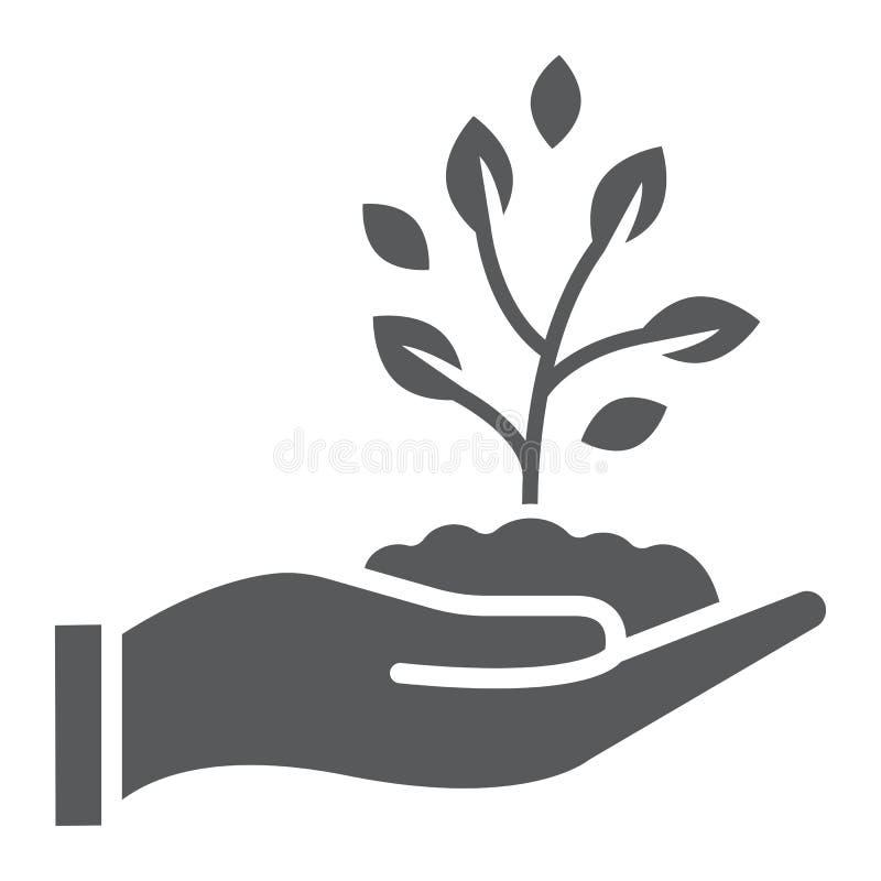 Пускайте ростии в значке, сельском хозяйстве и земледелии глифа руки иллюстрация штока
