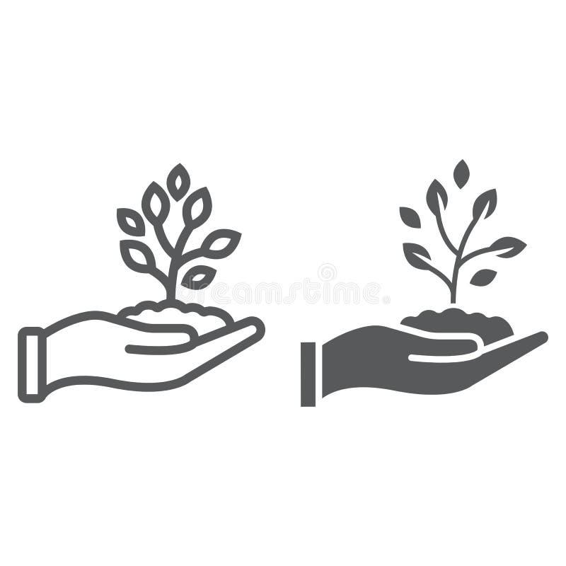 Пускайте ростии в линии руки и значке глифа, обрабатывая землю иллюстрация вектора