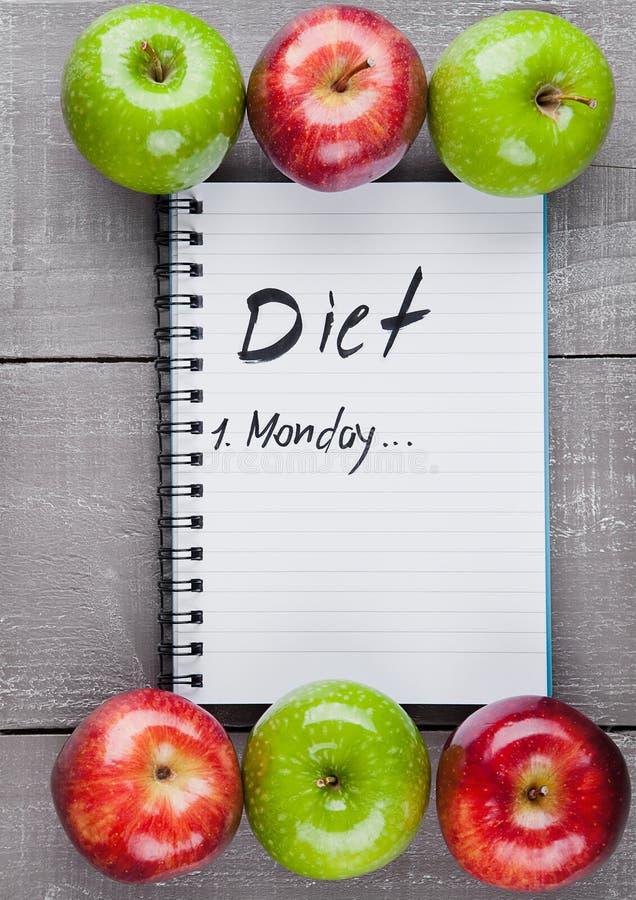 Пусковая площадка сочинительства с здоровыми яблоками как идея плана диеты стоковые изображения rf
