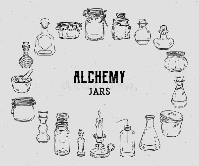 Пустая алхимия раздражает для собрания зелиь Волшебные бутылки для украшения хеллоуина иллюстрация вектора
