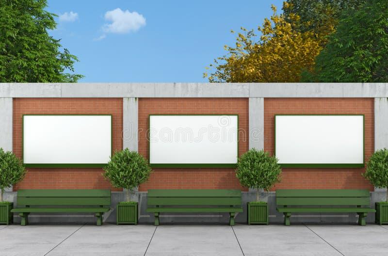 Пустая афиша улицы на кирпиче и бетонной стене иллюстрация штока