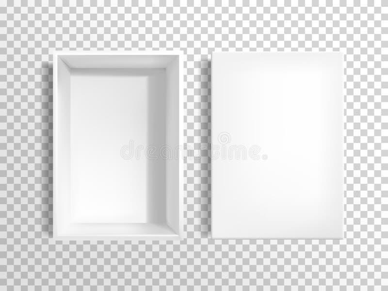 Пустая белая картонная коробка с вектором крышки иллюстрация вектора