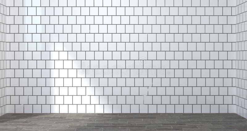 Пустая белая комната, иллюстрация 3d для насмешки вверх по дизайну интерьера иллюстрация штока