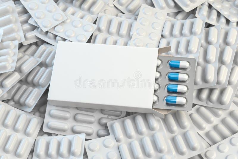 Пустая белая коробка для капсул на куче белых волдырей таблеток и капсул Медицинский модель-макет иллюстрация штока