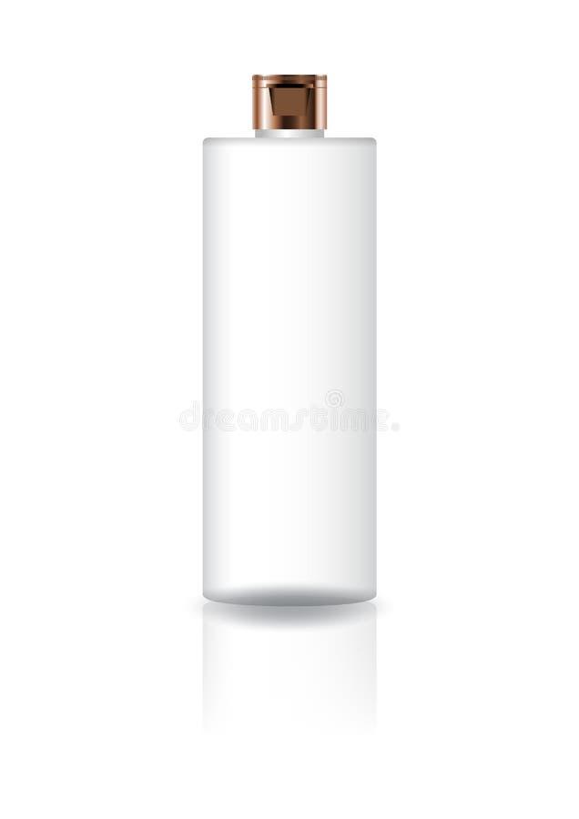 Пустая белая косметическая бутылка цилиндра с медной крышкой крышки для упаковки продукта красоты бесплатная иллюстрация