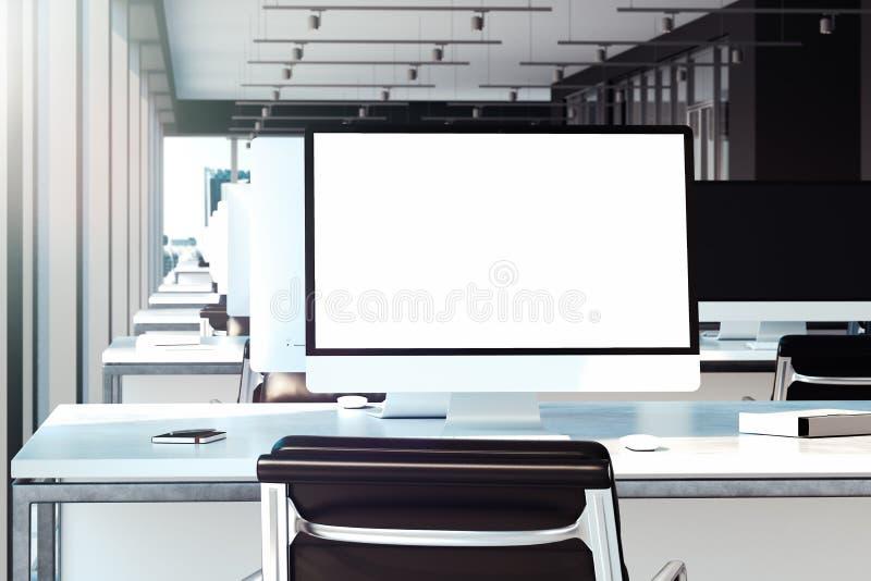 Пустая белая мышь монитора, клавиатуры и компьютера на столе перевод 3d бесплатная иллюстрация