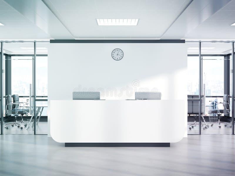 Пустая белая приемная в конкретном офисе с большим переводом модель-макета 3D окон бесплатная иллюстрация