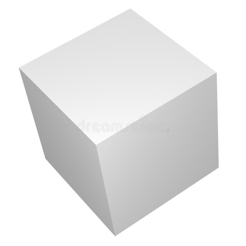 пустая белизна кубика коробки 3d иллюстрация вектора