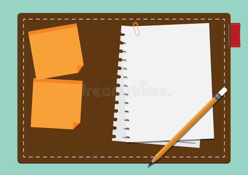 Пустая белая бумага и желтый цвет вставляют примечание на кожевенном картоне в плоском дизайне иллюстрация вектора