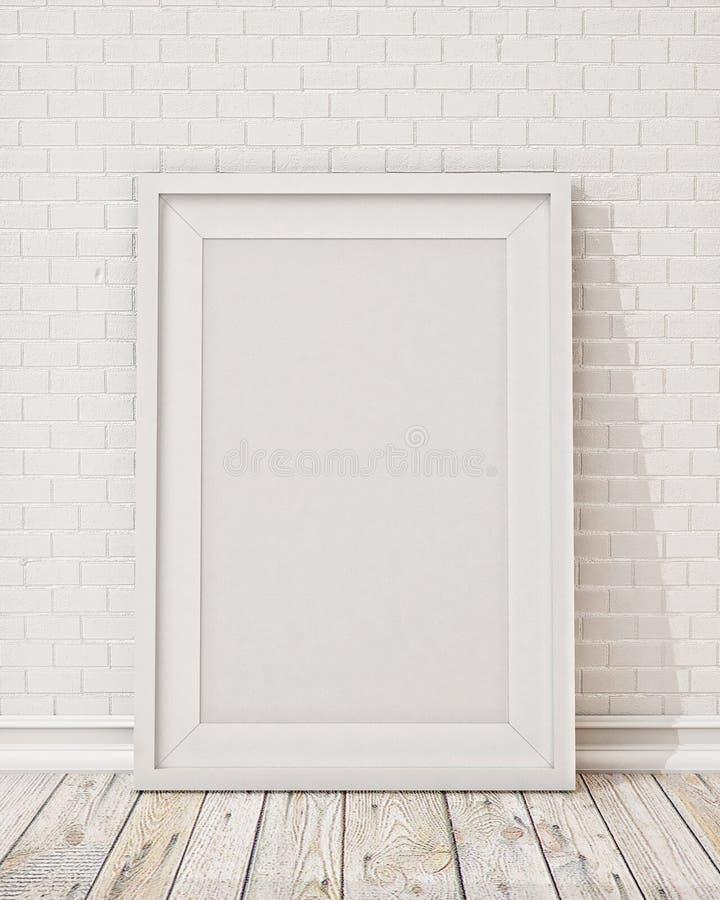 Пустая белая картинная рамка на стене и поле иллюстрация вектора
