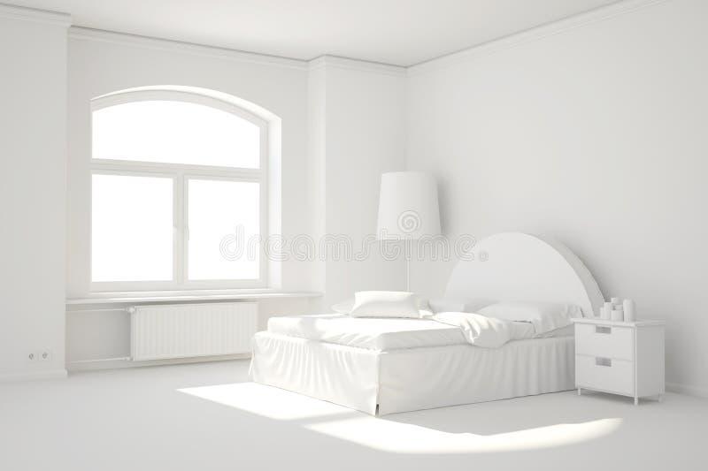 Пустая белая комната кровати с окном иллюстрация вектора