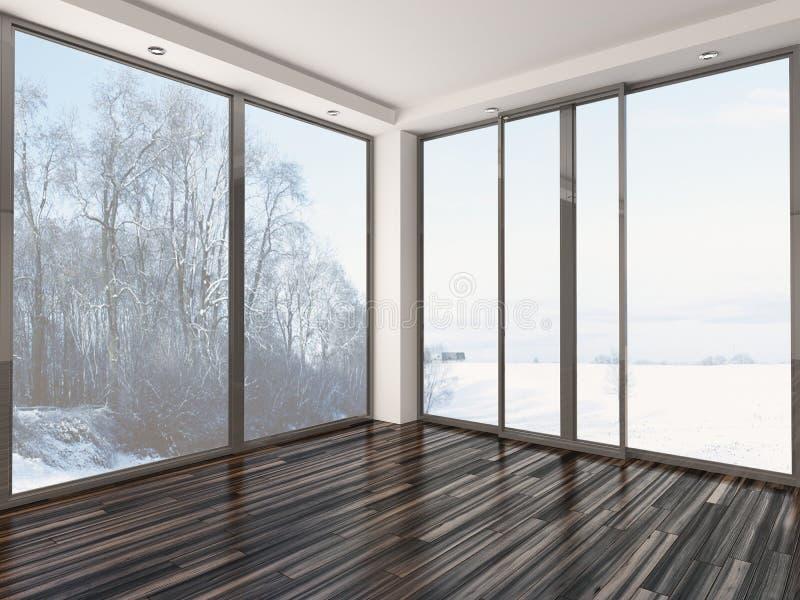 Пустая белая комната с взглядом зимы иллюстрация штока
