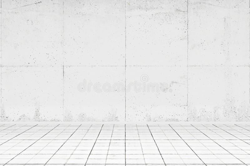 Пустая белая комната с кафельным полом иллюстрация вектора