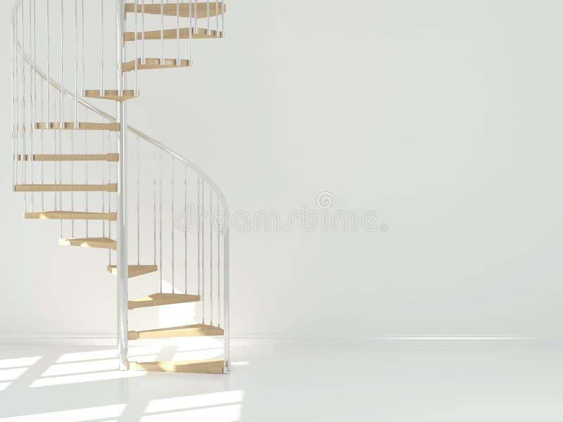 Пустая белая комната с круговой лестницей. стоковые изображения rf