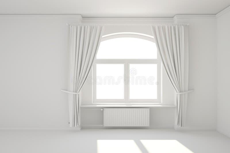 Пустая белая комната с окном иллюстрация штока