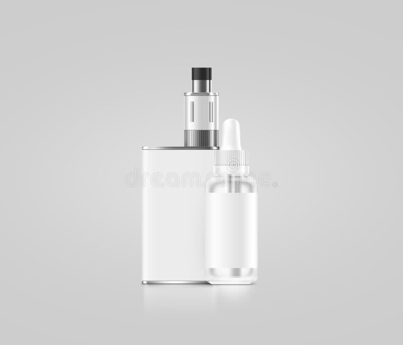 Пустая белая коробка mod vape при изолированный модель-макет бутылки сока, иллюстрация вектора