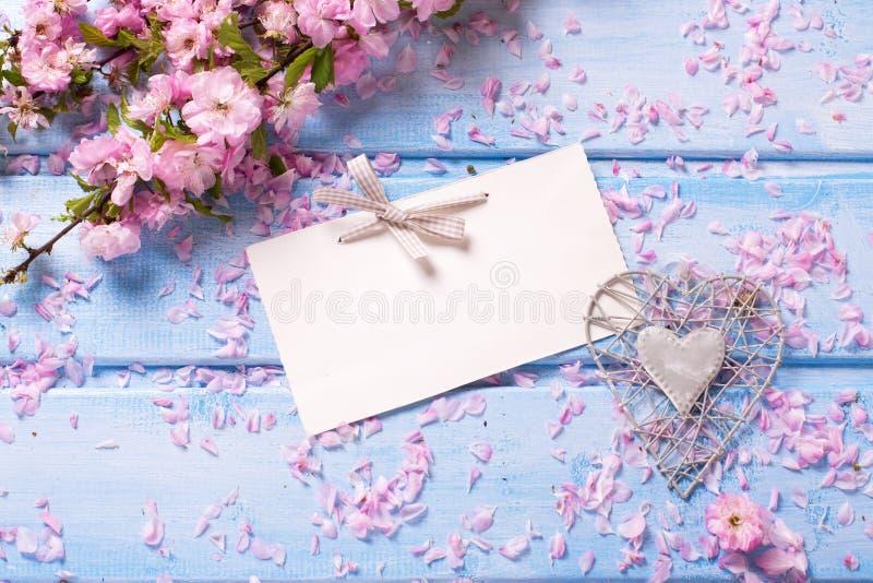 Пустая бирка, декоративное сердце и пинк Сакура цветут на голубом wo стоковые изображения rf