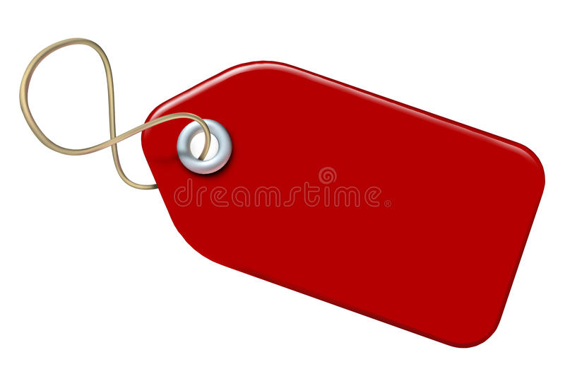 пустая бирка красного цвета цены иллюстрация вектора