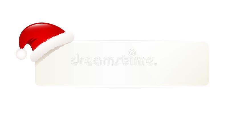 Пустая бирка подарка с крышкой Санта Клауса изолировала на белой предпосылке иллюстрация вектора