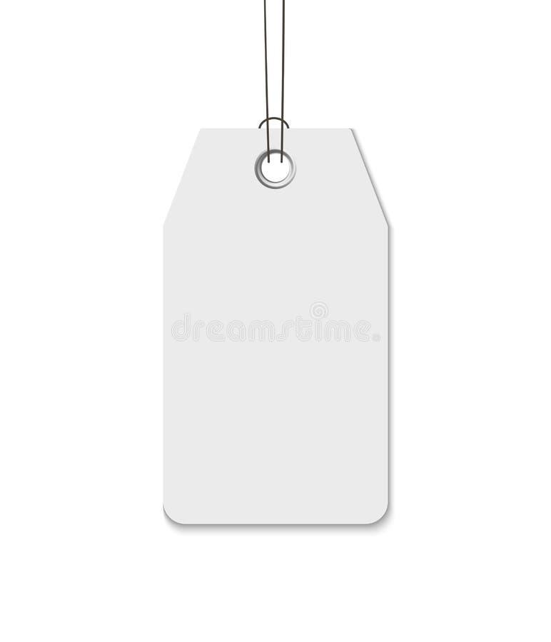 Пустая бирка при строка изолированная на белой предпосылке Цена, подарок, продажа, ярлык адреса иллюстрация вектора