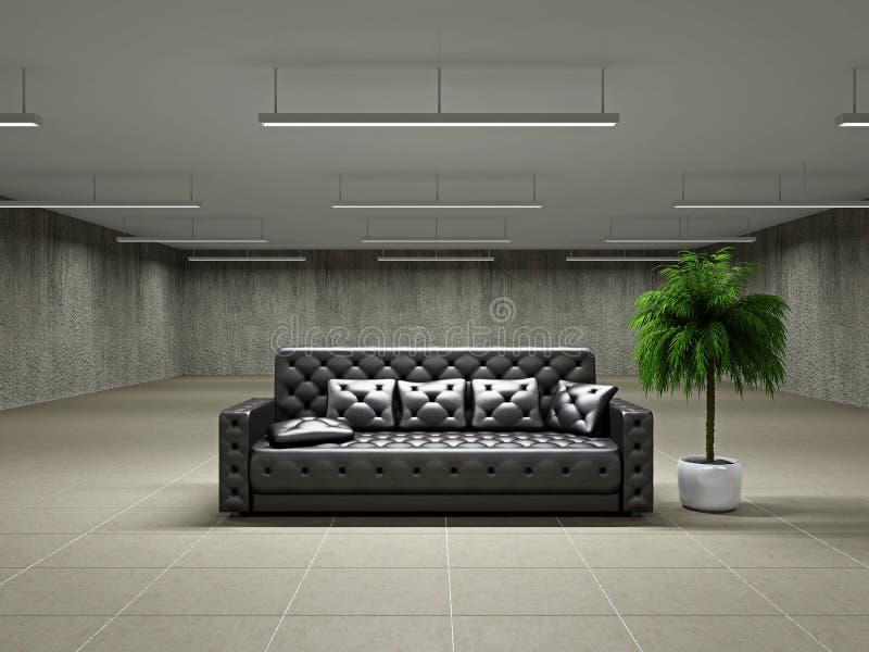 Пустая большая зала с софой стоковое изображение rf
