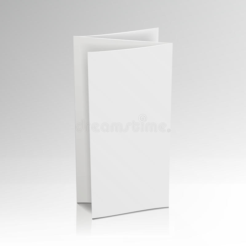 Пустая брошюра белизны папки Модель-макет вектора 3D Рогулька карточки загиба для иллюстрации представления дела иллюстрация вектора