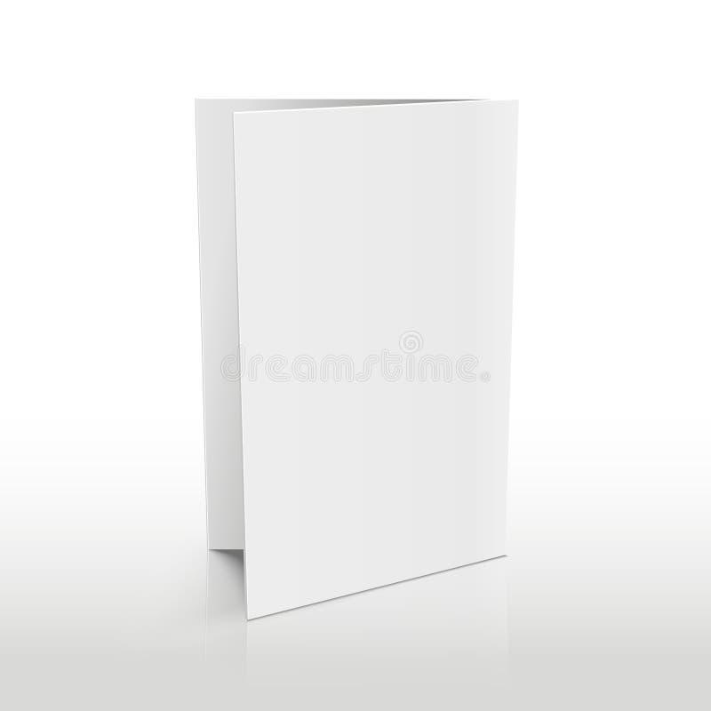 Пустая брошюра белизны папки Модель-макет вектора 3D иллюстрация штока