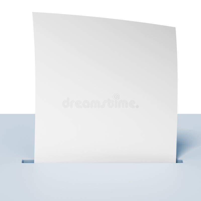 Пустая бумага в голубой урне для избирательных бюллетеней иллюстрация вектора