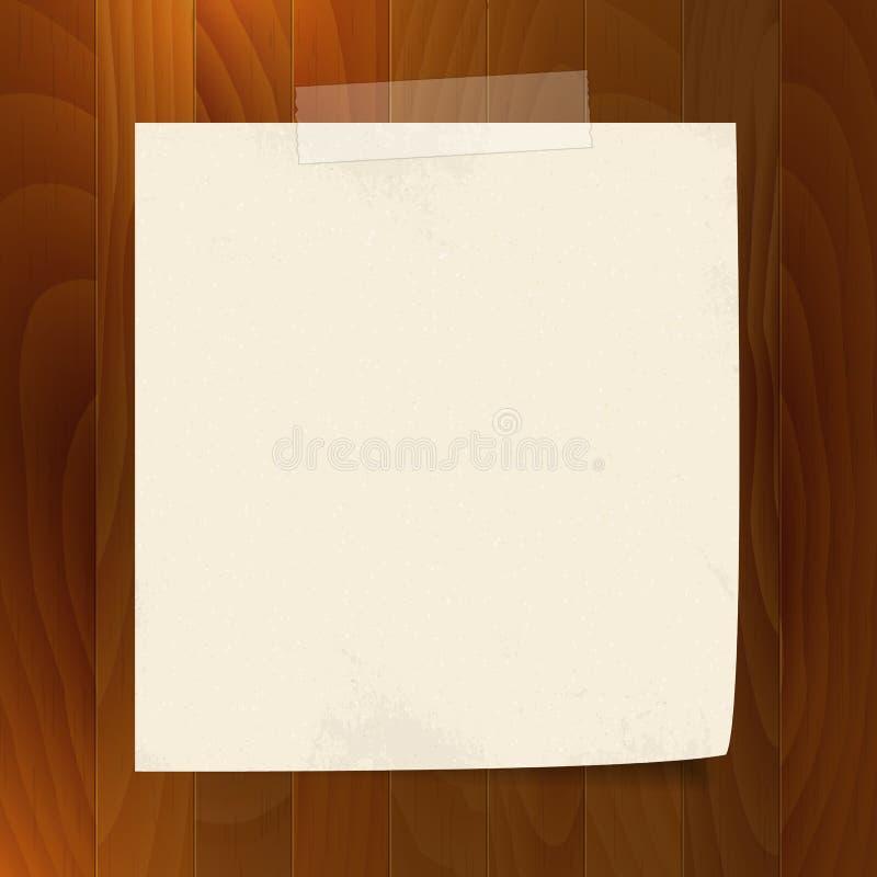 Пустая бумага примечания с лентой на деревянной предпосылке иллюстрация штока