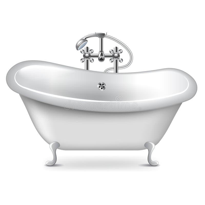 Пустая ванна на белом векторе иллюстрация вектора