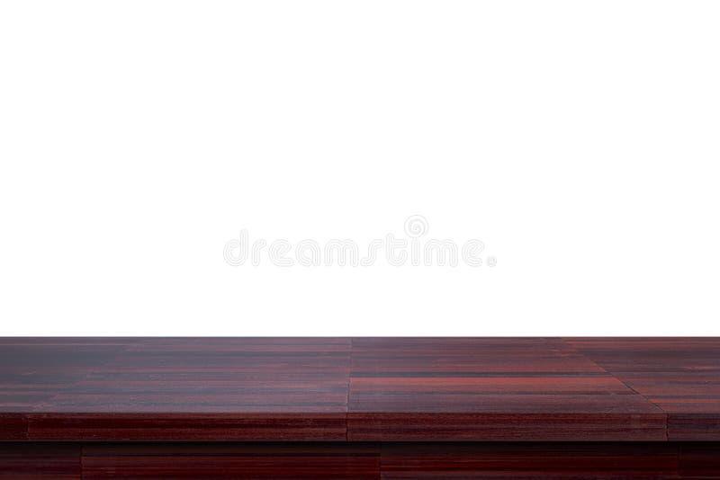Пустая верхняя темная деревянная таблица изолированная на белой предпосылке использовала для дисплея или монтажа ваши продукты иллюстрация штока