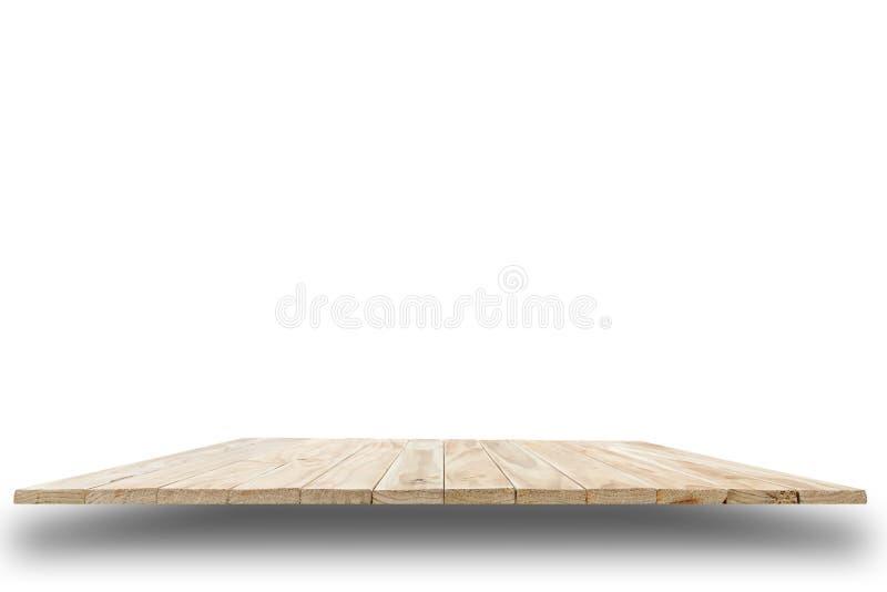 Пустая верхняя часть деревянного стола или счетчика изолированных на белом backgroun стоковые фотографии rf
