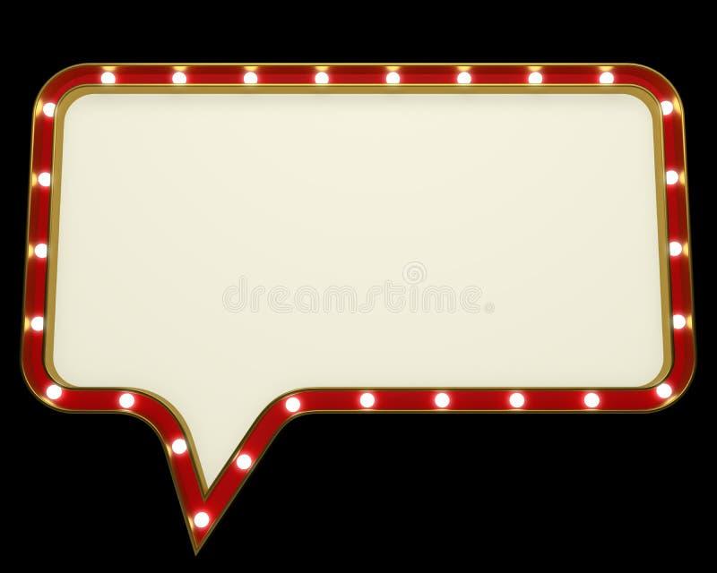Пустая винтажная рамка шатёр электрической лампочки иллюстрация штока
