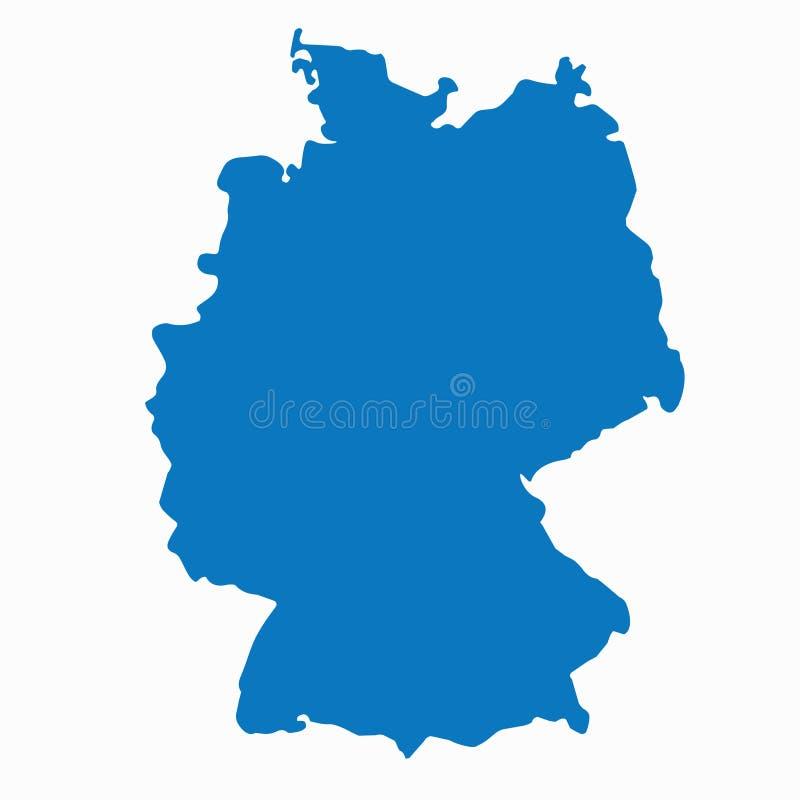 Пустая голубая подобная карта Германии изолированная на белой предпосылке Европейская страна Шаблон вектора для иллюстрация вектора