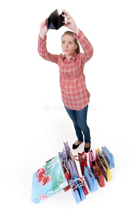 пустая девушка смотрит бумажник стоковое изображение rf